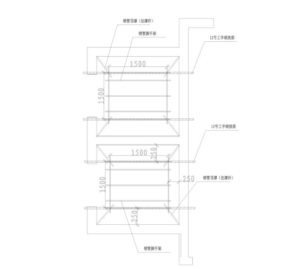 剪力墙结构住宅楼电梯井脚手架施工专项方案-02 电梯井脚手架平面示意图