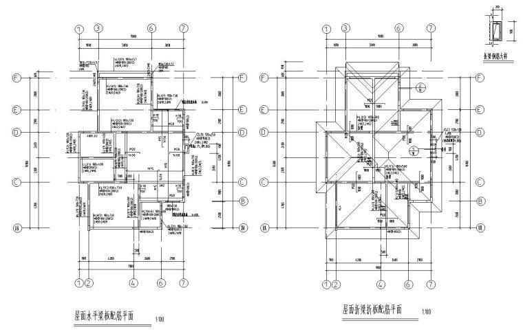 欧式风格二层别墅结构施工图CAD含建筑图-屋顶结构平面图