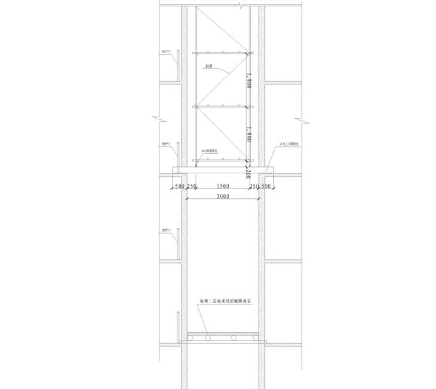 剪力墙结构住宅楼电梯井脚手架施工专项方案-03 电梯井悬挑脚手架立面示意图
