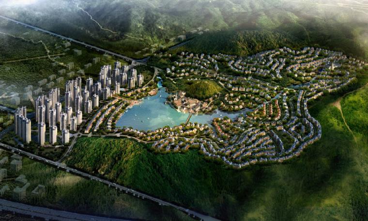 [广东]惠州英伦风格特色小镇景观概念规划-整体鸟瞰图
