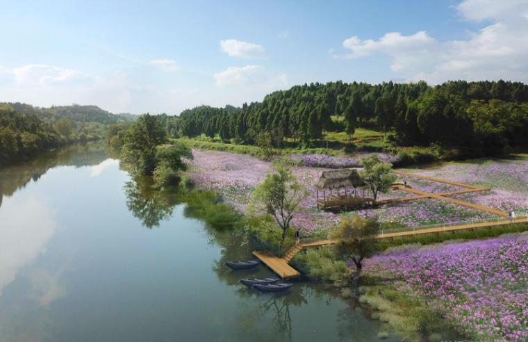 [四川]生态绿廊水系治理旅游休闲景观方案-百花滩效果图