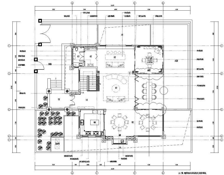 北纬18°现代风900㎡别墅住宅装修施工图设计-01 一层平面布置图