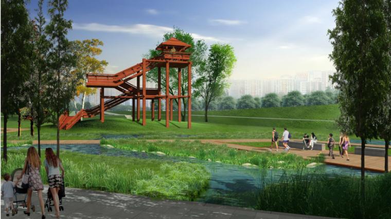 安徽芜湖商务文化中心中央公园景观设计方案-水生植物图效果图