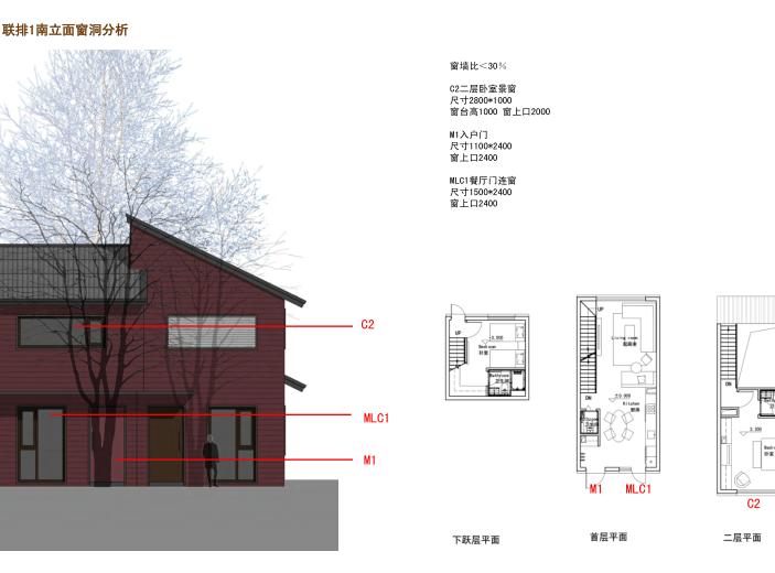 [吉林]松花湖度假村联排别墅区规划设计文本-联排1南立面窗洞分析