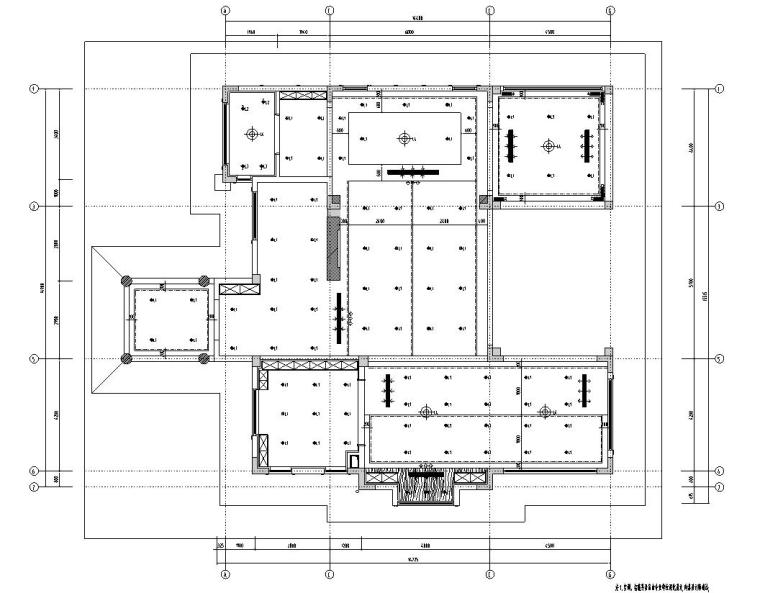 北纬18°现代风900㎡别墅住宅装修施工图设计-顶棚尺寸图