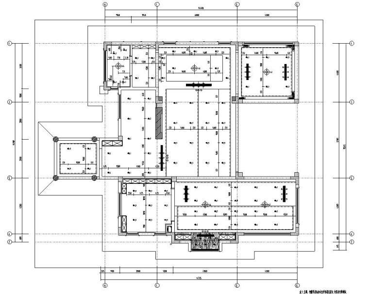 北纬18°现代风900㎡别墅住宅装修施工图设计-顶棚灯具定位图