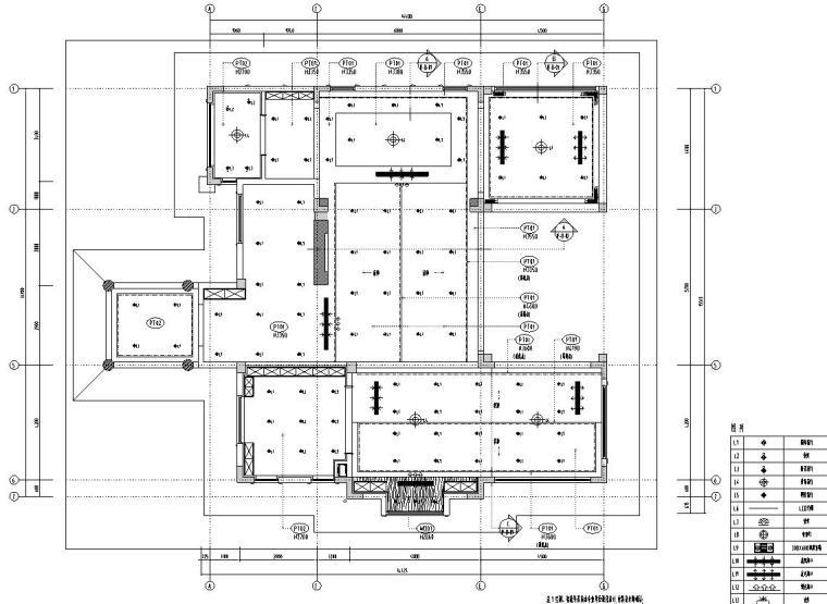 北纬18°现代风900㎡别墅住宅装修施工图设计-一层顶棚布置图