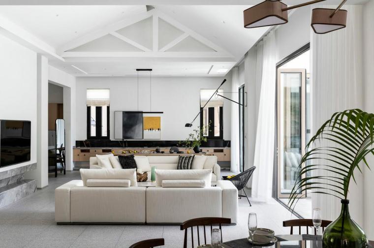 北纬18°现代风900㎡别墅住宅装修施工图设计-效果图