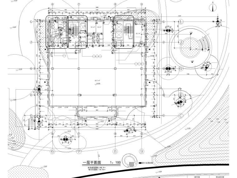 [上海]装配式产业园综合服务中心建筑施工图-1#楼一层平面图