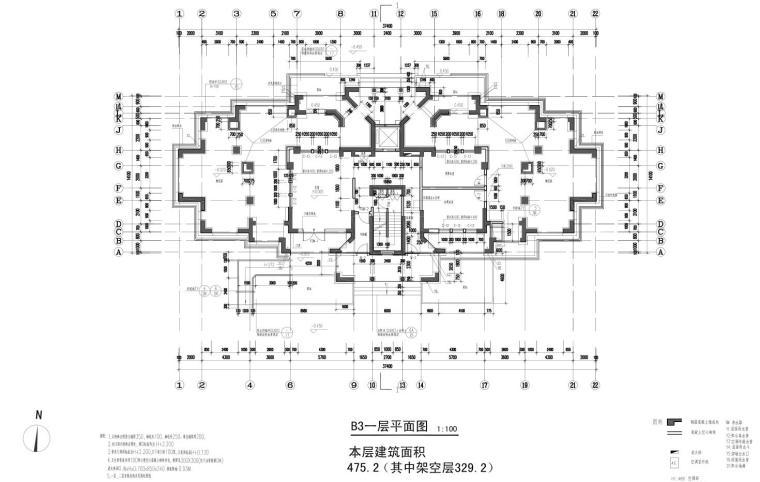 碧云晓园住宅1梯2户户型图设计 (2)