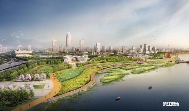 山东煤业塌陷区改造生态文化遗产公园群落-滨江湿地效果图
