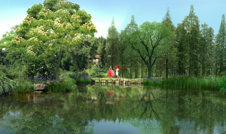 [四川]生态绿廊水系治理旅游休闲景观方案-欢意桥效果图