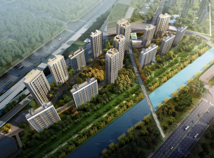 上海徐泾镇装配式高层住宅建筑方案设计文本-鸟瞰图
