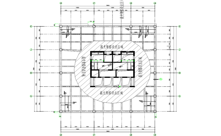 塔楼停机坪屋面高支模安全专项施工方案-02 板及高支架架体边缘平面图