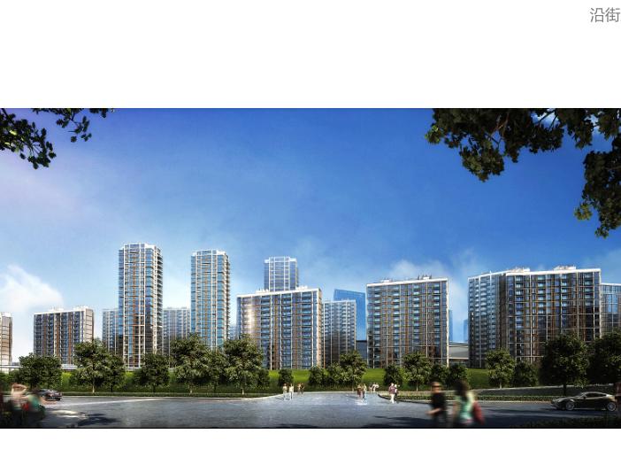上海徐泾镇装配式高层住宅建筑方案设计文本-沿街透视图