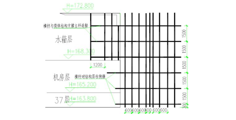 塔楼停机坪屋面高支模安全专项施工方案-05 满堂支撑架立面布置图