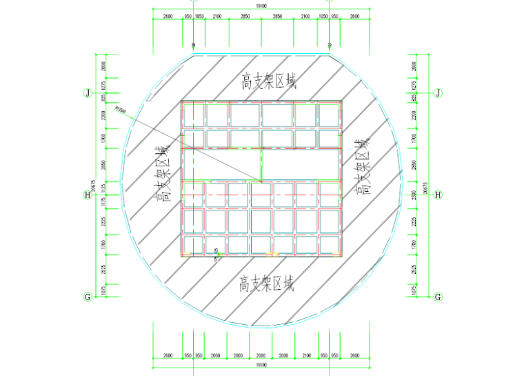塔楼停机坪屋面高支模安全专项施工方案-03 停机坪屋面支架搭设区域平面图