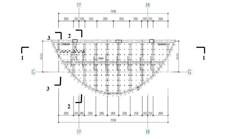 塔楼停机坪屋面高支模安全专项施工方案-04 典型梁板模板支撑架立杆平面布置图