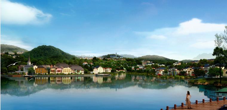 [广东]惠州英伦风格特色小镇景观概念规划-滨水景观透视图