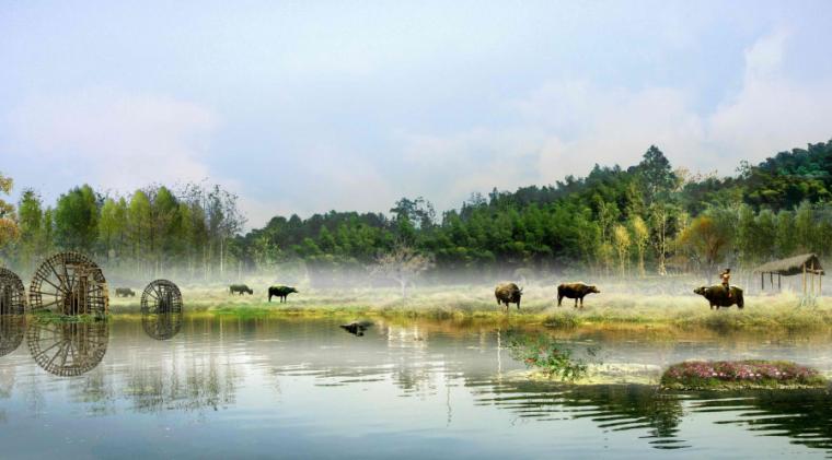 [四川]生态绿廊水系治理旅游休闲景观方案-舟上花溪效果图