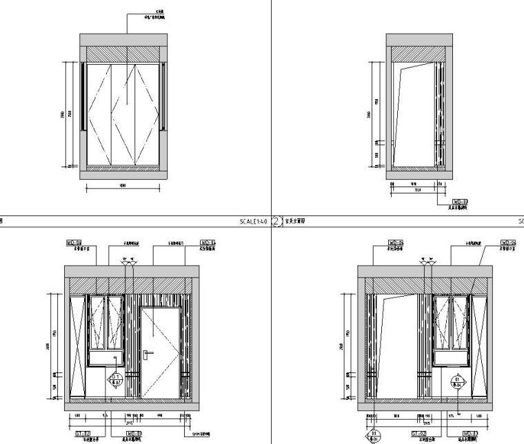 中加生态城样板间施工图+效果图-玄关立面图