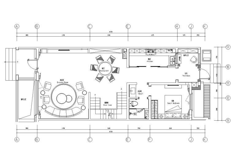 中加生态城样板间施工图+效果图-一层平面布置图