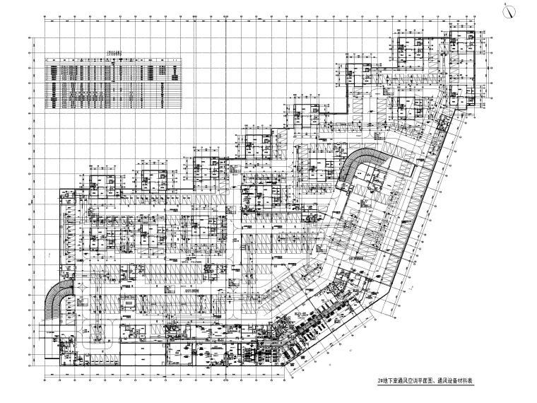 3.3万平高层酒店暖通施工图_通用节点图2018-2#地下室通风空调平面图、通风设备材料表