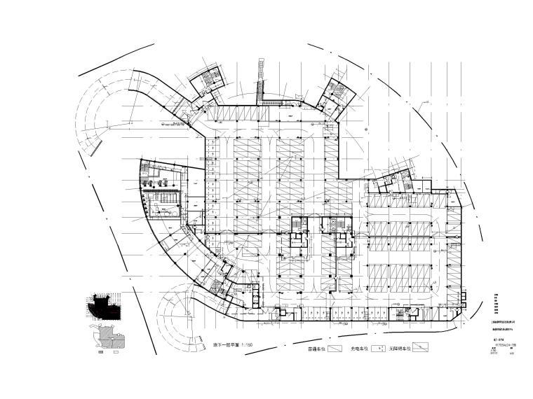 [上海]装配式产业园综合服务中心建筑施工图-地下一层平面图