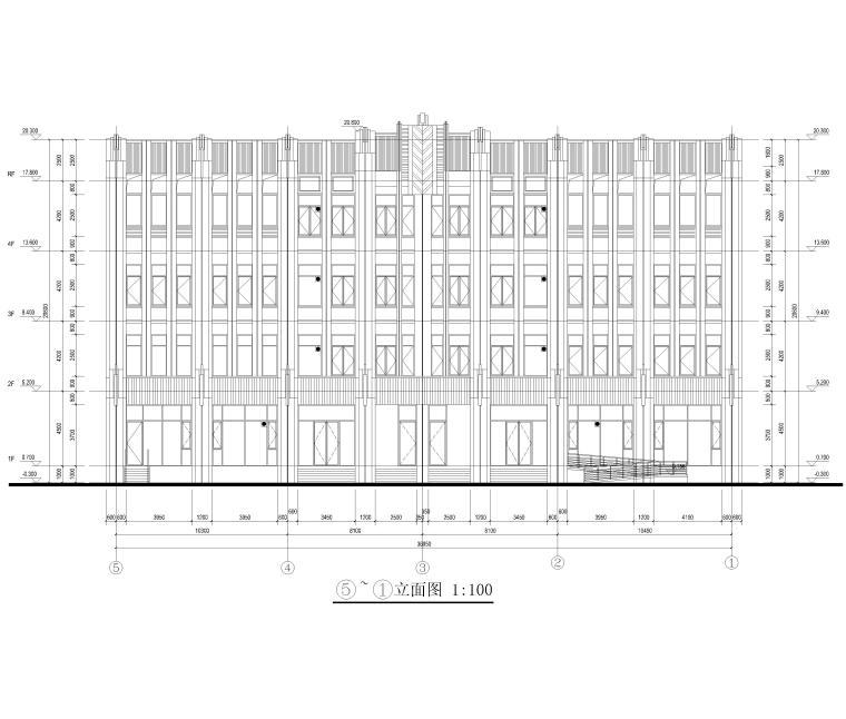 [上海]4层框架结构办公楼全套施工图2017-建筑立面图