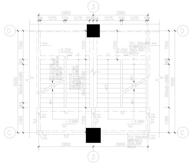 [上海]4层框架结构办公楼全套施工图2017-自行车库夹层平面图