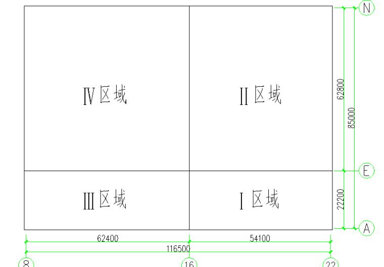 一层地下室模板支撑架安全专项施工方案-02 分区域施工平面图
