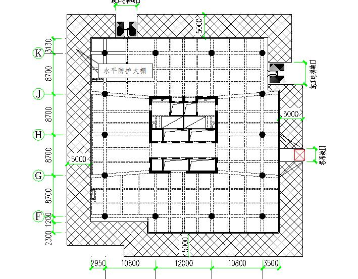 36层框架核心筒传媒中心水平防护施工方案-02 水平防护大棚平面布置图