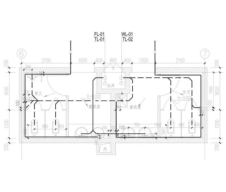 [上海]2栋高层商务办公楼全套施工图2017-卫生间给排水详图