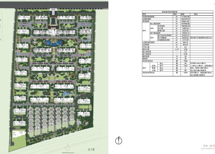 [山东]济南庄严山水豪宅大区景观方案设计-总平面图
