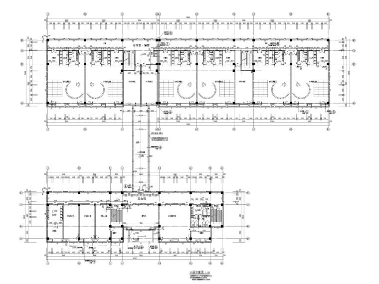 三层框架结构18班幼儿园建筑施工图2016-二层平面图