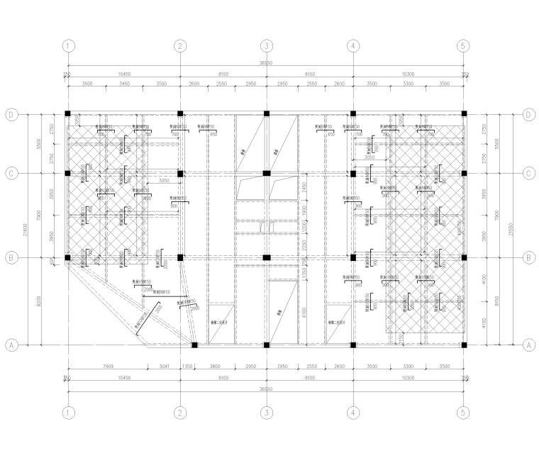 [上海]4层框架结构办公楼全套施工图2017-结构平面布置图