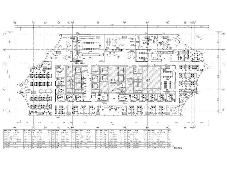 [北京]众美集团总部新办公室装修设计施工图-平面布置图