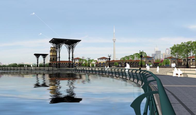 [河南]商丘临湖商业文化公园景观方案-临河步道区效果图