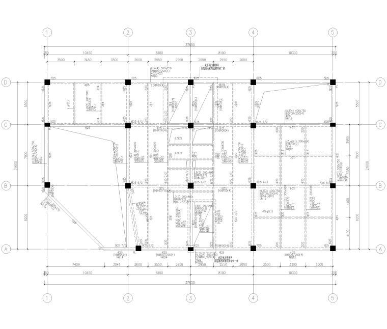 [上海]4层框架结构办公楼全套施工图2017-梁平面布置图