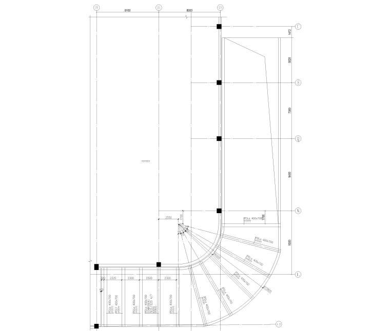 [上海]单层框架结构地下车库全套图纸2017-汽车坡道顶板平面图