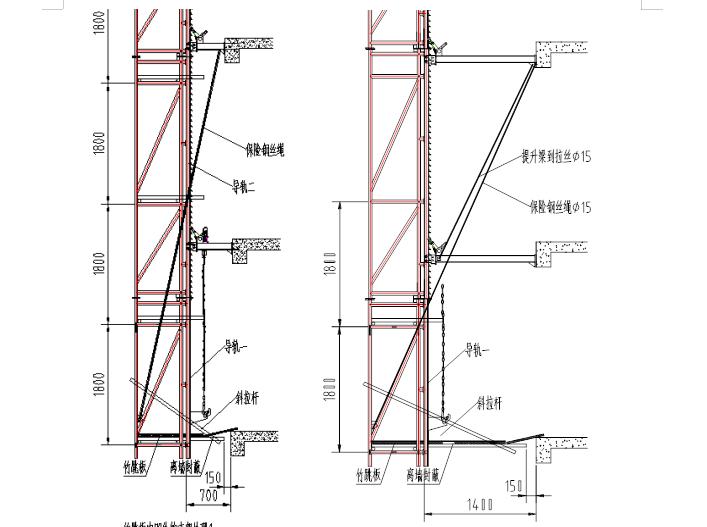 36层住宅楼附着式升降脚手架专项施工方案-09 凹处搭设方法侧立面示意