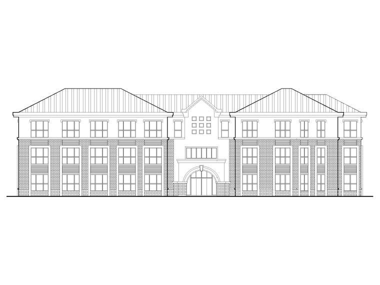 三层框架结构18班幼儿园建筑施工图2016-立面图1