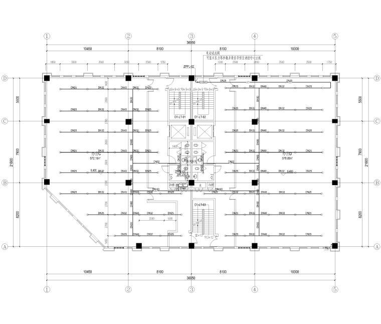 [上海]4层框架结构办公楼全套施工图2017-喷淋平面图