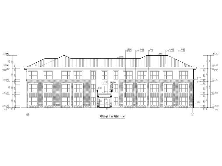 三层框架结构18班幼儿园建筑施工图2016-立面图2