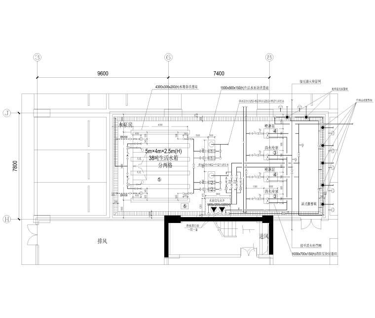 [上海]单层框架结构地下车库全套图纸2017-水泵房布置平面图