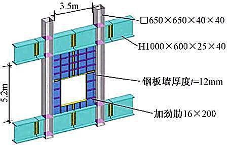 苏州现代传媒广场新型钢结构技术研究与应用-开洞钢板墙三维模型图试验加载制度表