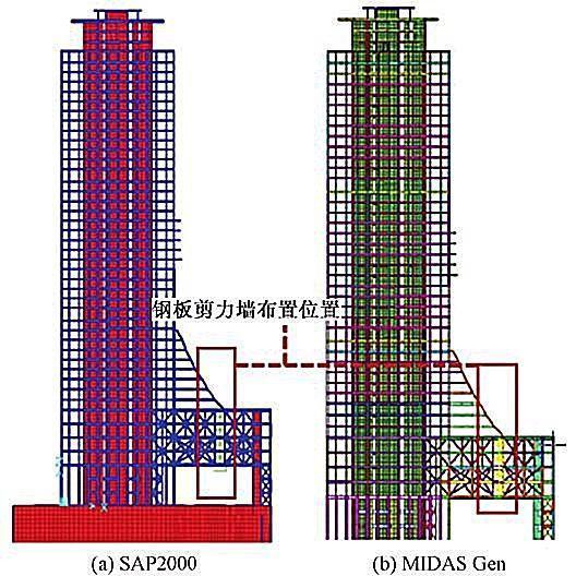 苏州现代传媒广场新型钢结构技术研究与应用-整体计算模型表2为整体桁架中部分连接单元在不同工况下