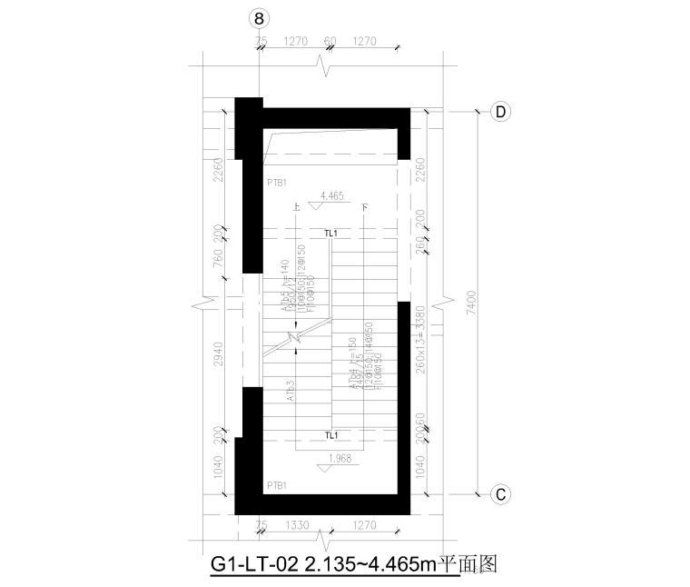 [上海]2栋高层商务办公楼全套施工图2017-楼梯结构平面图