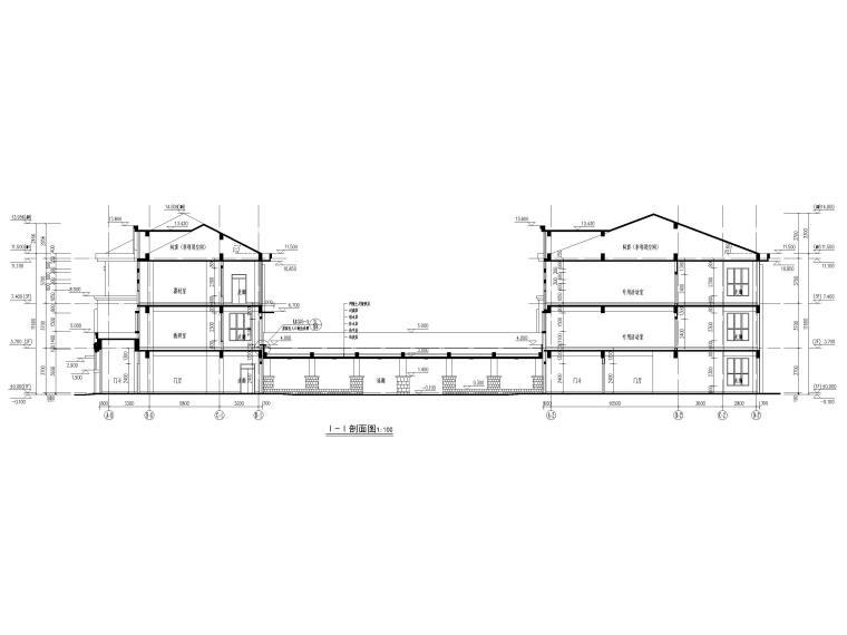 三层框架结构18班幼儿园建筑施工图2016-剖面图1