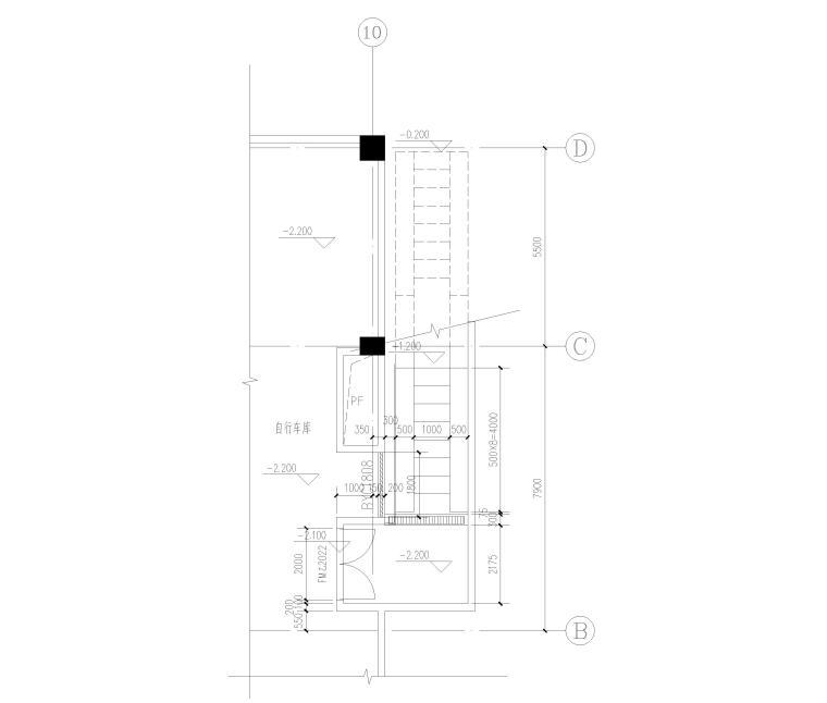 [上海]单层框架结构地下车库全套图纸2017-自行车坡道建筑平面图
